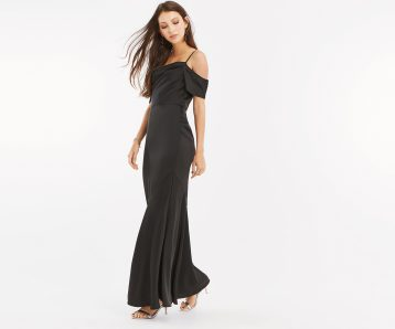 Oasis Amy Slinky Cowl Neck Maxi Bridesmaid Dress Black