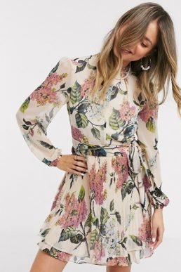 Oasis Blossom Skater Floral Mini Dress Multi Beige