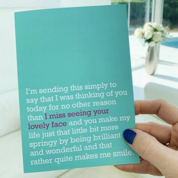 'I Miss Seeing Your Lovely Face' : Miss You Card