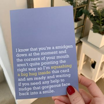 'Squashing A Big Hug Inside' Thinking Of You Card