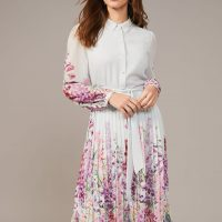 Phase Eight Rachie Floral Print Pleated Midi Dress seafoam White Multi