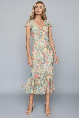 Reiss Lilly Floral-Print Chiffon Midi Dress Pink Multi