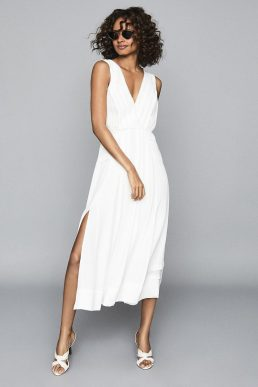 Reiss Marcella Split Front Beach Dress White