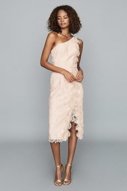 Reiss Mena One-Shoulder Lace Shift Dress Nude Pink
