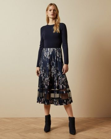 Ted Baker CLLOVER Dark Pergola pleated dress Navy Multi