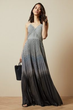 Ted Baker EDRA Masquerade pleated maxi dress Black White