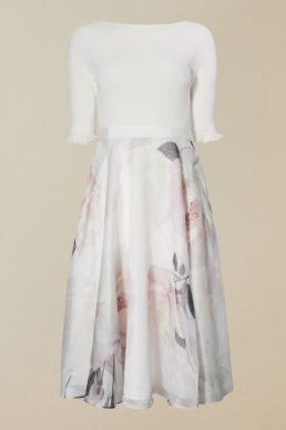 Ted Baker ILINE Bouquet print sleeve full skirt dress Ivory Pink