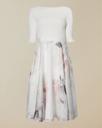 Ted Baker ILINE Bouquet print sleeve full skirt dress Ivory Pink