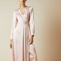 Ted Baker NEENHA Side wrap pleated dress Light Pink Blush