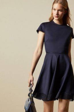 Ted Baker ROHDIA Mesh detail skater dress Navy Blue