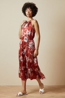 Ted Baker SAYANA Cabana halter neck midi floral dress Dark Brown Multi