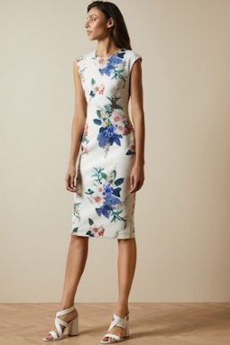 Ted Baker SHARLEY Jamboree Floral Print Bodycon Shift Dress White Multi