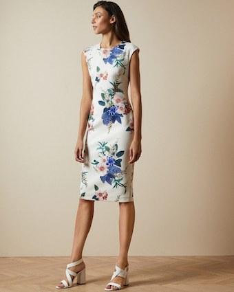 Ted Baker SHARLEY Jamboree Floral Print Bodycon Shift Dress White Multi