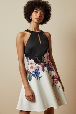 Ted Baker TILDDA Jamboree floral skater dress Black White Multi