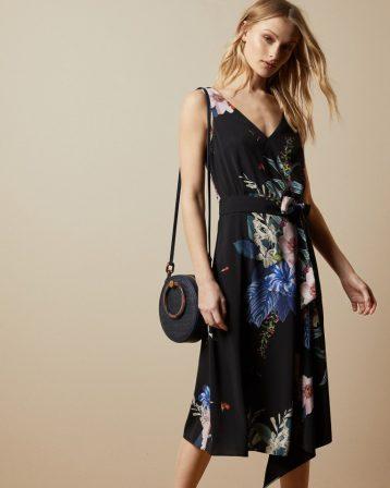 Ted Baker TRINNI Jamboree midi floral dress Black Multi