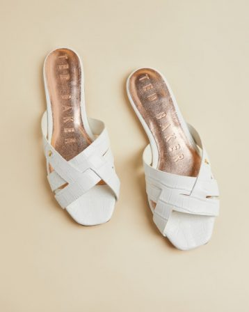 Ted Baker ZELANIA Leather croc effect flat sandal White