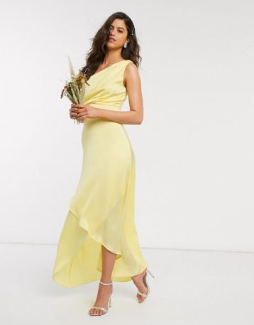 TFNC Bridesmaid one shoulder maxi dress in yellow