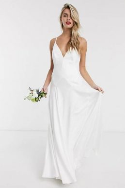 ASOS EDITION Paige satin plunge wedding dress with cross back White