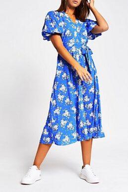 River Island floral puff sleeve midi dress Blue White