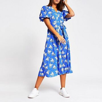 River Island floral puff sleeve midi dress Blue White