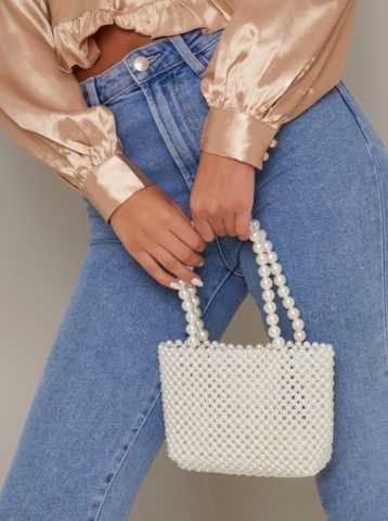 Chi Chi Bella Bag Faux Pearls White