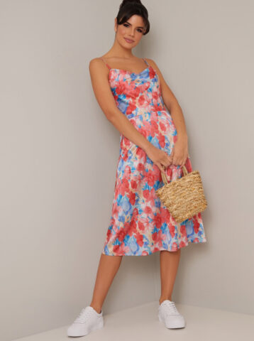 Chi Chi Herley Floral Cami Midi Dress Red Blue Multi