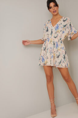 Chi Chi Nicole Floral Playsuit Neutral Multi