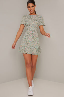 Chi Chi Shaughna Floral Short Dress Green Multi
