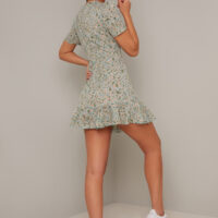 Chi Chi Shaughna Floral Short Dress Green Multi