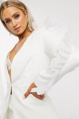 Club L London organza ruffle sleeve detail blazer in white
