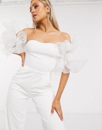 Club L London organza sleeve jumpsuit in white