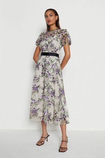 Coast Embroidered Floral Midi Dress White Purple