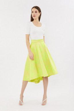 Coast Jacquard Full Midi High Low Skirt Yellow