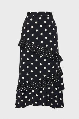 Coast Spotty Ruffle Midi Skirt Black White
