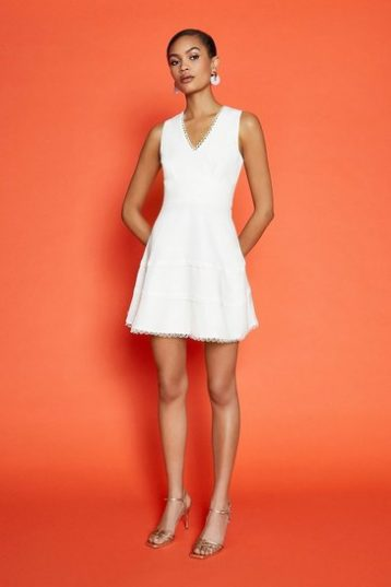 Coast Trim Insert Skater Dress Ivory