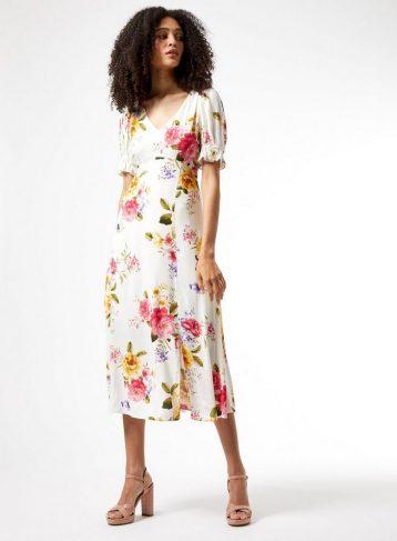Dorothy Perkins Multi Colour Floral Print Puff Sleeve Midi Dress White Multi
