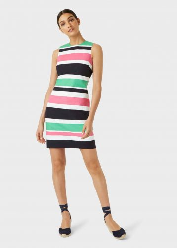 Hobbs Alya Cotton Blend Stripe Shift Dress Multi