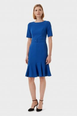 Hobbs Bria Belted Shift Sleeve Dress Blue