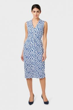 Hobbs Denisa Jersey Print Shift Dress White Blue