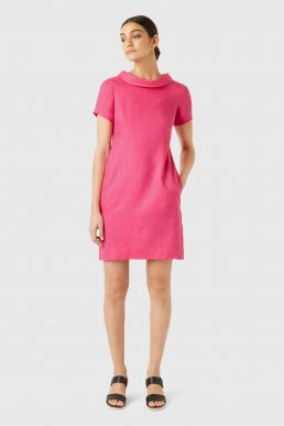 Hobbs Linen Petra Roll Neck Shift Dress Pink