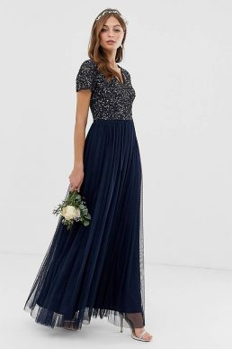 Maya Bridesmaid V neck maxi dress with delicate sequin in navy
