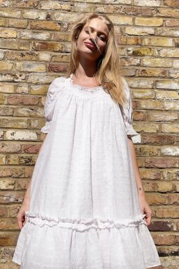 & Other Stories cotton smocked trapeze dress in white