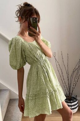 & Other Stories ditsy floral print mini swing dress in green
