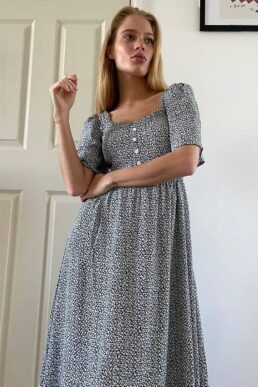 & Other Stories ditsy floral print smocked back maxi dress in black white