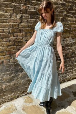 & Other Stories eco cotton square neck smock midaxi dress in light blue