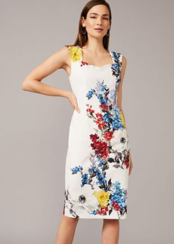 Phase Eight Keshena Floral Fitted Dress White Multi