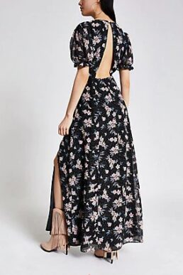 River Island Black floral open back maxi dress Multi