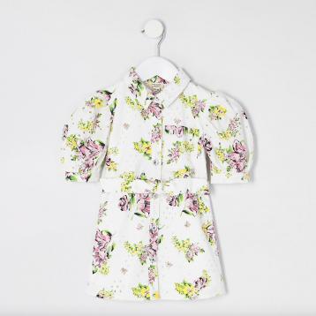 River Island Mini girls white floral broderie shirt dress