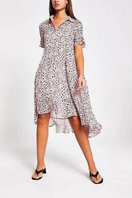 River Island Pink spot print frill midi shirt dress