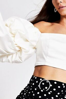 River Island White long double puff sleeve crop top